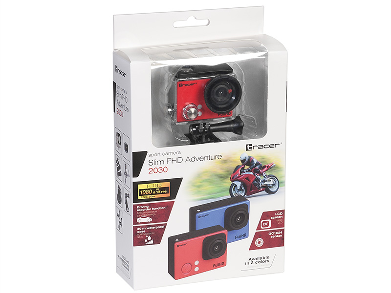 Kamera sportowa TRACER slim FHD Adventure 2030 red